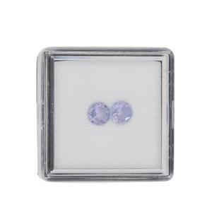 0.70cts Tanzanite Brilliant Round Approx 5mm Loose Gemstone (Pack of 2)