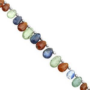 40cts Multi Kyanite Top Side Drill Smooth Pear Approx 5.5x3.5 to 10x6mm, 18cm Strand with Spacers