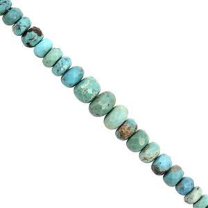 25cts Turquoise Graduated Faceted Rondelle Approx 3x1 to 6x3mm, 20cm Strand