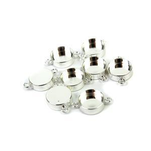 Silver Plated Base Metal Connector Bezels, Approx 23x14mm (8pk)