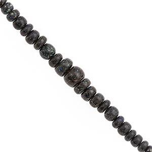 17cts Black Matrix Opal Graduated Smooth Rondelle Approx 2.5x1.5 to 6.5x3.5mm, 14cm Strand