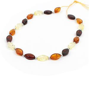 Baltic Multi Colour Amber Oval Bead Strand With Sterling Silver Spacers Approx 8x5mm, 20cm Strand (Cognac, Cherry, Lemon)