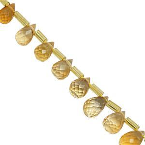 38cts Citrine Top Side Drill Faceted Drop Approx 6x4 to 9x5.5mm, 20cm Strand with Spacers