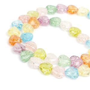 90cts Multi-Colour Cracked Quartz Puffy Hearts Approx 8mm, 38cm strand
