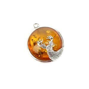 Baltic Cognac Amber Sterling Silver Stag Pendant Approx 23x21mm