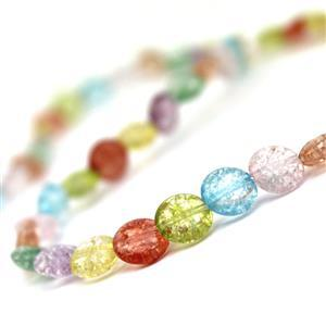 80cts Multi-Colour Cracked Quartz Flat Coins Approx 8mm, 38cm strand
