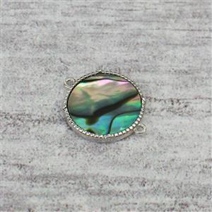 Rhodium Plated 925 Sterling Silver Round Abalone Connector Approx 15mm, 1pc