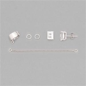 925 Sterling Silver Earcuff Finding Kit Inc. 3.55cts Clear Quartz
