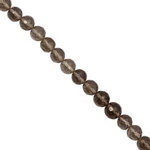 95cts Smokey Quartz Graduated Faceted Round Approx 5 to 7mm,  32cm Strand