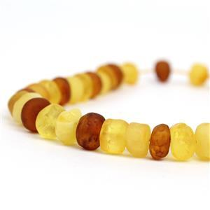 Baltic Frosted Cognac Amber Nuggets Strand,Approx. 6-9mm, 20cm