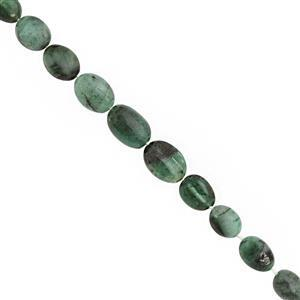 40cts Emerald Graduated Smooth Oval Approx 6x4.5 to 11x8mm, 20cm Strand