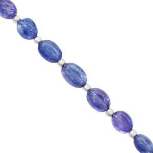 25cts Tanzanite Graduated Smooth Tumbles Approx 5x4 to 12x8.5mm, 9cm Strand with Spacers