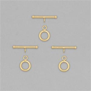 Gold Plated 925 Sterling Silver Toggle Clasps T-Bar Approx 22mm and Round Approx 10mm (3pcs)