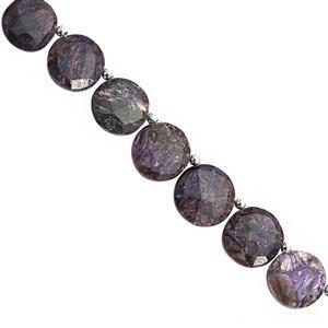 75cts Charoite Side Drill Faceted Coin Approx 12 To 15mm, 16cm Strand With Spacers