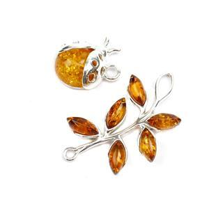 Baltic Cognac Amber Ladybird & Leaf Pendants Approx. 14x11mm & 29x16mm