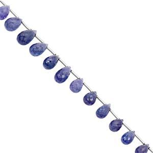 45cts Tanzanite Graduated Top Side Drill Faceted Drop Approx 6.5x4.5 to 11.5x6.5mm, 20cm Strand with Spacers