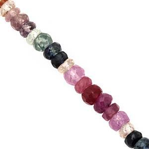 25cts Multi-Colour Ruby & Sapphire Graduated Faceted Rondelles Approx 2.5x1 to 4x3mm, 19cm Strand