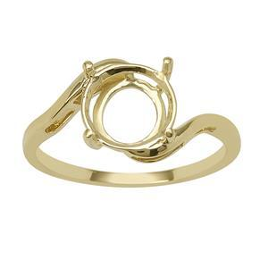 9ct Gold Round Ring Mount (To fit 9x9mm gemstone)