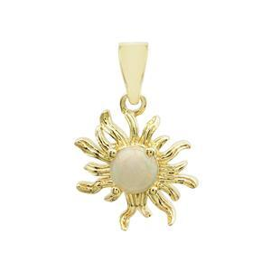 0.70cts Ethiopian Opal Cabochon Round Gold Plated Sterling Silver Sun Pendant, Approx 23x15mm