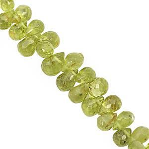 52cts Peridot Top Side Drill Faceted Drop Approx 5x3 to 7x4.5mm, 16cm Strand