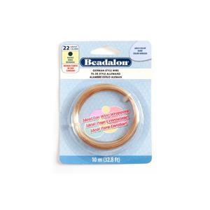 Beadalon Gold Colour German Style Round Wire, 22 Gauge/0.64mm, 32.8ft/10m