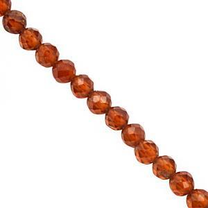 35cts Hessonite Garnet Faceted Round Approx 3 to 3.50mm, 40cm Strand