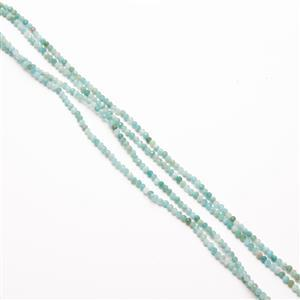 "40cts Russian Amazonite Faceted Rounds Approx 2-2.5mm, 60"" Strand"