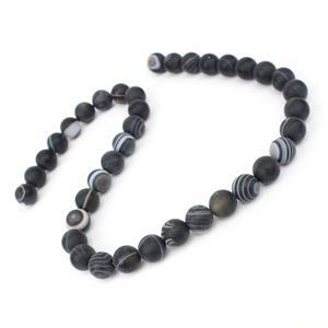 270cts Dyed Black Stripe Agate Matte Rounds Approx 10mm, 38cm