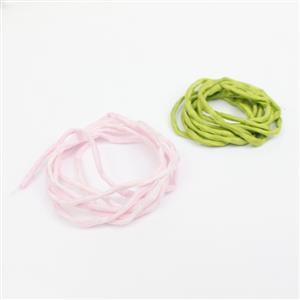 1m Light Pink Silk Cord Approx 2mm & 1m Peridot Green Silk Cord Approx 2mm