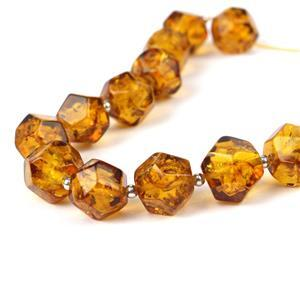 Baltic Cognac Amber Geometry Beads Approx 10mm , 20 cm strand inc. Sterling Silver Spacer Beads