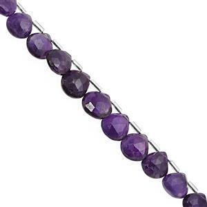 70cts Zambian Amethyst Top Side Drill Faceted Heart Approx 8.50 to 11mm, 24cm Strand with Spacers