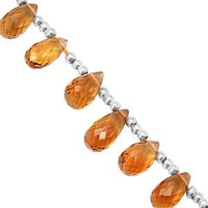 18cts Madeira Citrine Top Side Drill Graduated Faceted Drop Approx 4x6 to 8.5x5mm, 10cm Strand with Spacers