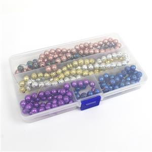 6 Strands in Box Coated Lava Plain Round in Assorted Colours Approx 8mm 38cm