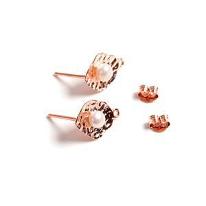 Rose Gold Plated 925 Sterling Silver Hammered Earring With Round Freshwater Pearl Approx 14x9mm