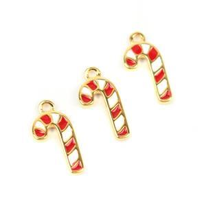Gold Plated 925 Sterling Silver Cane Charms Approx 11mm, 3pcs