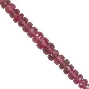 13cts Rubellite Faceted Rondelles Approx 2.9x1mm to 4.9x2mm 9cm Strand