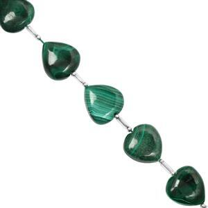 65cts Malachite Center Drill Plain Heart Approx 12 to 16mm, 9cm Strand with Spacers