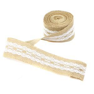 5m Hessian Ribbon with Lace Approx. 50mm