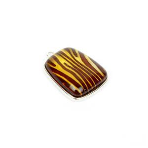 Baltic Amber Animal Print Engraved Pendant, Approx 26x20mm