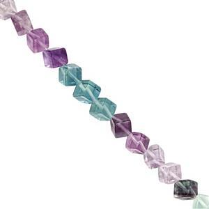 94cts Argentinian Fluorite Smooth Cornered Cube Approx 8 to 9mm, 20cm Strand