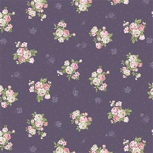 Vintage Bouquet of Roses on Purple Fabric 0.5m