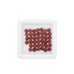 12cts Red Garnet Cabochon Round Approx 4mm Loose Gemstone, (Pack of 40)