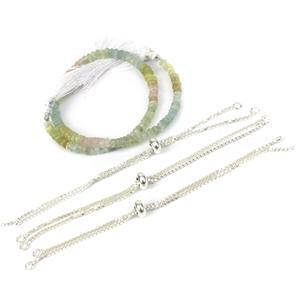 The Biggest Trend! Silver Inc: 52cts Multi Beryl Graduated Faceted Rondelles