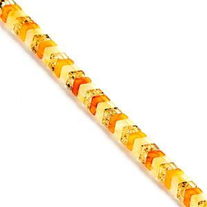 Baltic Multi Colour Amber Double Drilled Chevron Bead Strand Approx. 7x10mm, 20cm Strand (Butterscotch, Earthy, Off-White)