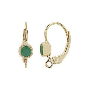 Gold Plated 925 Sterling Silver Leverback Earrings With 0.52cts Sakota Emerald Setting (1pair)