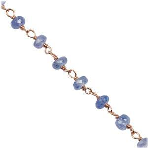 Rose Gold Flash Sterling Silver Tanzanite Beaded Chain, Approx 3mm 20 Inch