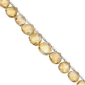 45cts Rio Grande Citrine Top Side Drill Graduated Faceted Heart Approx 6.50 to 10mm, 19cm Strand with Spacers