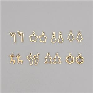 Christmas Charm Collection: Gold Plated Brass Charms In 8 Styles (16pcs)