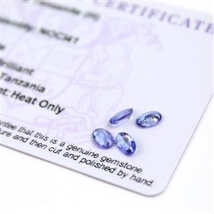 1.5cts  Tanzanite 6x4mm Oval Pack of 4 (H)