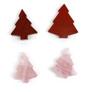 Last of Stock Tree's! Inc; Red Jasper & Rose Quartz. 4pcs Total